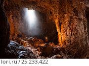 Купить «Potholer exploring the Graller del Boixaguer cave, Montsec mountains, Pyrenees, Catalonia, Spain, May 2012. Model released.», фото № 25233422, снято 7 июля 2020 г. (c) Nature Picture Library / Фотобанк Лори