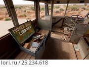 Купить «Interior of Ghan Hover Bus, sculpture at Mutonia Sculpture Park, Oodnadata Track, South Australia», фото № 25234618, снято 22 августа 2018 г. (c) Nature Picture Library / Фотобанк Лори