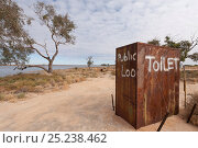 Купить «Public toilet in the outback by the punt along Cooper's Creek detour, South Australia, Australia», фото № 25238462, снято 19 октября 2018 г. (c) Nature Picture Library / Фотобанк Лори