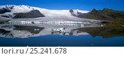 Купить «Fjallsarlon lake with icebergs floating in the lake beneath the Fjallsjokull glacier near Jokulsarlon, Vatnajokull, southern Iceland 2006», фото № 25241678, снято 15 августа 2018 г. (c) Nature Picture Library / Фотобанк Лори