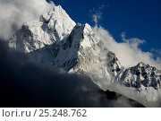 Ama Dablam (6.856 m) surrounded by clouds, Sagarmatha National Park (World Heritage UNESCO). Khumbu / Everest Region, Nepal, Himalaya, October 2011. Стоковое фото, фотограф Enrique Lopez-Tapia / Nature Picture Library / Фотобанк Лори