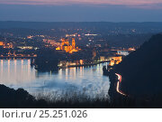 Купить «Looking down at Passau at night with three rivers flowing together - the Inn, Ilz and Danube - Bavaria, Germany», фото № 25251026, снято 6 декабря 2019 г. (c) Nature Picture Library / Фотобанк Лори