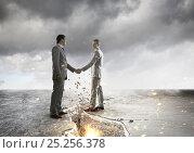 Купить «Rejoining to overcome crisis . Mixed media», фото № 25256378, снято 25 мая 2019 г. (c) Sergey Nivens / Фотобанк Лори