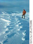 Купить «Man standing beside raised footprints in the snow, caused when the wind blows away the lose snow leaving the compacted snow, Signy Island, South Orkney...», фото № 25279846, снято 25 сентября 2018 г. (c) Nature Picture Library / Фотобанк Лори