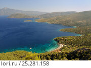 Купить «Mourtia beach and bay with the southeast tip of Samos and Mount Mycale in Turkey's Dilek Peninsula National Park in the background, east coast of Samos, August 2011.», фото № 25281158, снято 16 февраля 2019 г. (c) Nature Picture Library / Фотобанк Лори