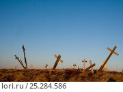 Купить «Crosses, marking grave sites at a cemetery in the Inupiaq village of Point Lay, slump from melting permafrost, along the arctic coast of Alaska, USA, June 2011», фото № 25284586, снято 21 февраля 2018 г. (c) Nature Picture Library / Фотобанк Лори