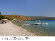 Tourists sunbathing and swimming at Klima beach with the mountains of western Turkey in the background, southeast coast of Samos, Greece, August 2011. Стоковое фото, фотограф Nick Upton / Nature Picture Library / Фотобанк Лори