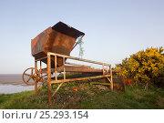 Купить «Rusting remains of mussel processing machine, Campfield Marsh RSPB reserve, Solway Firth, Cumbria, UK, April 2011», фото № 25293154, снято 22 июля 2018 г. (c) Nature Picture Library / Фотобанк Лори