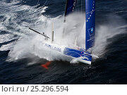 """Купить «Waves pounding monohull """"Banque Populaire"""" during training ahead of Transat Jacques Vabre 2011. Lorient, Brittany, France, July 2011. All non-editorial uses must be cleared individually.», фото № 25296594, снято 18 марта 2018 г. (c) Nature Picture Library / Фотобанк Лори"""