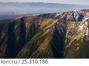 Купить «Aerial view of mountain ridges in the Western Tatras. The Low Tatras can bee seen in the distance. Slovakia, September 2008.», фото № 25310186, снято 19 августа 2018 г. (c) Nature Picture Library / Фотобанк Лори