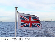 Купить «Union Jack being flown on the Mersey Ferry. River Mersey, England, February 2011.», фото № 25313778, снято 22 августа 2018 г. (c) Nature Picture Library / Фотобанк Лори