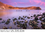 Lulworth Cove after sunset, producing pink clouds. Dorset, England, UK. Jurassic Coast World Heritage Site. March 2009. Стоковое фото, фотограф Peter Lewis / Nature Picture Library / Фотобанк Лори