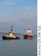 "Купить «Liverpool Tug ""Svitzer Bidstonug"" towing tanker, manoeuvring around midriver to enter Alfred Dock. Birkenhead, England, June 2010.», фото № 25336122, снято 17 июля 2018 г. (c) Nature Picture Library / Фотобанк Лори"