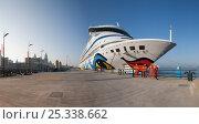 "Купить «Wide angle panoramic view of Aida cruise liner ""Aura"" alongside Liverpool Cruise Liner Terminal. Liverpool, Merseyside, England, May 2010.», фото № 25338662, снято 6 июля 2020 г. (c) Nature Picture Library / Фотобанк Лори"