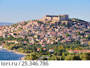 Купить «Coastal city of Molyvos (Mithymna) and hilltop medieval Byzantine castle in evening light, Isle of Lesbos / Lesvos, Greece. August 2009», фото № 25346786, снято 14 марта 2018 г. (c) Nature Picture Library / Фотобанк Лори