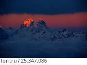 Купить «Mount Ushba (4,710m) at sunset, just on the Georgian side of the border, seen from Elbrus, Caucasus, Russia, June 2008», фото № 25347086, снято 24 сентября 2018 г. (c) Nature Picture Library / Фотобанк Лори