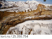 Aerial view of Kamchatka landslide, where on 3 June 2007 a massive landslide buried part of Kamchatka's Valley of the Geysers. Kronotsky Zapovednik, Kamchatka, Russia. Редакционное фото, фотограф Igor Shpilenok / Nature Picture Library / Фотобанк Лори