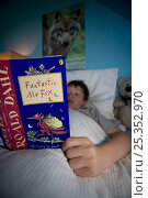 Купить «Boy reading 'Fantastic Mr Fox' book in bed, Scotland, UK, model released», фото № 25352970, снято 16 июля 2018 г. (c) Nature Picture Library / Фотобанк Лори