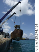 Купить «Cranes lowering the hulk of tugboat ''Blue Plunder'' into the water prior to towing out to sea and sinking. Nassau, Bahamas. August 2007.», фото № 25374134, снято 17 июля 2018 г. (c) Nature Picture Library / Фотобанк Лори