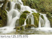 Купить «Waterfalls in Wir lake, Upper Lakes, Plitvice Lakes National Park, Croatia, October 2008», фото № 25375970, снято 15 июля 2018 г. (c) Nature Picture Library / Фотобанк Лори