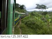 Train travelling betwen Manakara and Fianarantsoa, Madagascar. Стоковое фото, фотограф Inaki Relanzon / Nature Picture Library / Фотобанк Лори