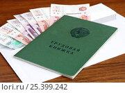 Деньги в конверте и трудовая книжка на столе. Стоковое фото, фотограф Елена Коромыслова / Фотобанк Лори