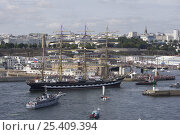 "Купить «Four masted barque ""Kruzenshtern"" entering port, Douarnenez Maritime Festival, France, July 2008», фото № 25409394, снято 6 августа 2020 г. (c) Nature Picture Library / Фотобанк Лори"