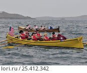 """Купить «USA's ladies crew racing borrowed gig """"Lyonesse"""" at the 19th World Pilot Gig Championships, Isles of Scilly, May 2008», фото № 25412342, снято 27 мая 2018 г. (c) Nature Picture Library / Фотобанк Лори"""