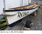 "Купить «Lyme Regis Gig Club's first boat ""Rebel"" in temporary compound, Dorset, July 2008», фото № 25413462, снято 22 июня 2018 г. (c) Nature Picture Library / Фотобанк Лори"