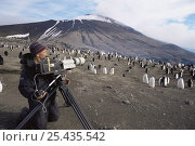 Camerman Doug Allan filming Chinstrap penguins for BBC NHU 'The Blue Planet'. Zavodovski Is, South Sandwich Is, with dormant volcano in background, 1997. Стоковое фото, фотограф Doug Allan / Nature Picture Library / Фотобанк Лори