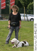 Купить «Woman with American Staffordshire Terrier wearing harness», фото № 25442918, снято 20 июля 2018 г. (c) Nature Picture Library / Фотобанк Лори