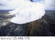 Купить «Steam and volcanic gasses emitted from crater of  Pu'u O'o volcano during 1998 eruption, Kilauea Volcano, Hawaii», фото № 25448178, снято 22 мая 2018 г. (c) Nature Picture Library / Фотобанк Лори
