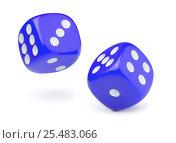 Купить «Two blue rolling dices», фото № 25483066, снято 30 сентября 2012 г. (c) Антон Стариков / Фотобанк Лори