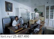 Купить «Dr Maksimov at the Bolshoy Kotu laboratory, Lake Baikal, Siberia, Russia», фото № 25487490, снято 26 июня 2019 г. (c) Nature Picture Library / Фотобанк Лори
