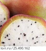 Fresh sliced white dragon fruit close-up. Стоковое фото, фотограф Воронина Светлана / Фотобанк Лори