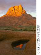 Peak of Spitzkoppe reflected in ephemeral pool, wet season. Damaraland, Namibia. Стоковое фото, фотограф Martin Gabriel / Nature Picture Library / Фотобанк Лори