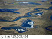 Aerial view of Kolyma river delta, Siberia, Russia. Стоковое фото, фотограф Staffan Widstrand / Nature Picture Library / Фотобанк Лори