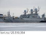 Купить «Три малых противолодочных корабля Балтийского Военного флота на зимней стоянке пасмурным январским днем. Кронштадт», фото № 25510354, снято 25 января 2017 г. (c) Виктор Карасев / Фотобанк Лори