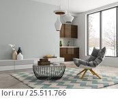Купить «Interior modern design room 3D illustration», иллюстрация № 25511766 (c) Hemul / Фотобанк Лори
