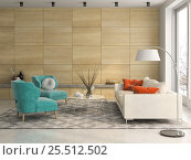 Купить «Interior modern design room 3D illustration», иллюстрация № 25512502 (c) Hemul / Фотобанк Лори