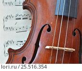 Купить «Дека скрипки и ноты», фото № 25516354, снято 15 марта 2015 г. (c) Сергей Дрозд / Фотобанк Лори
