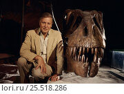 Купить «Sir David Attenborough with Tyrannosaurus rex skull. On location for BBC tv series 'Lost Worlds Vanished Lives' 1988», фото № 25518286, снято 23 февраля 2018 г. (c) Nature Picture Library / Фотобанк Лори
