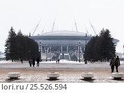 Купить «Зенит-арена. Футбольный стадион на Крестовском острове. Санкт-Петербург», эксклюзивное фото № 25526594, снято 12 февраля 2017 г. (c) Александр Щепин / Фотобанк Лори