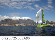 """""""SEB"""" off Cape Town South Africa finishes sixth on leg 1 of the Volvo Ocean Race, 2001-2002. Стоковое фото, фотограф Rick Tomlinson / Nature Picture Library / Фотобанк Лори"""