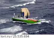 """""""SEB"""" under jury rig approaching the Chilean coast after losing her mast in the Volvo Ocean Race, February 14, 2002. Стоковое фото, фотограф Rick Tomlinson / Nature Picture Library / Фотобанк Лори"""