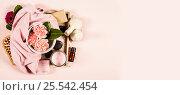 Купить «Spa background. Flat lay», фото № 25542454, снято 9 февраля 2017 г. (c) Наталия Кленова / Фотобанк Лори