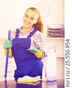Купить «cleaner girl working», фото № 25550854, снято 23 мая 2018 г. (c) Яков Филимонов / Фотобанк Лори