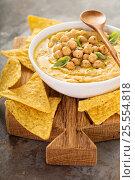 Купить «Homemade hummus with tortilla chips», фото № 25554818, снято 2 февраля 2017 г. (c) Елена Веселова / Фотобанк Лори