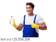 Купить «Man with cleaning agents isolated on white background», фото № 25556206, снято 31 октября 2016 г. (c) Elnur / Фотобанк Лори
