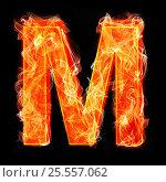 Купить «Burning letters as alphabet type M», фото № 25557062, снято 19 января 2019 г. (c) Elnur / Фотобанк Лори